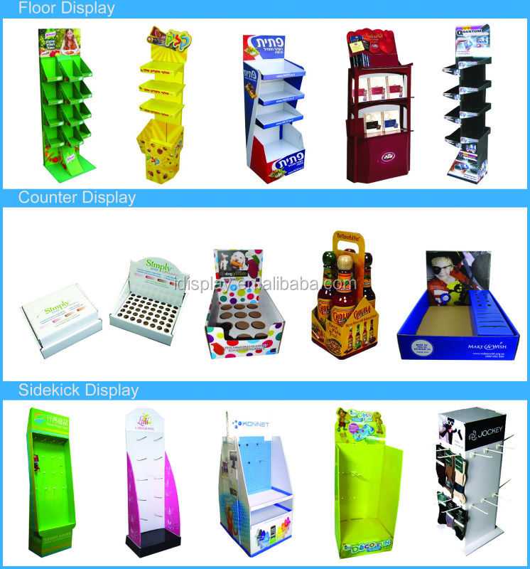 cardboard counter top pop display for cosmetic counter top displays