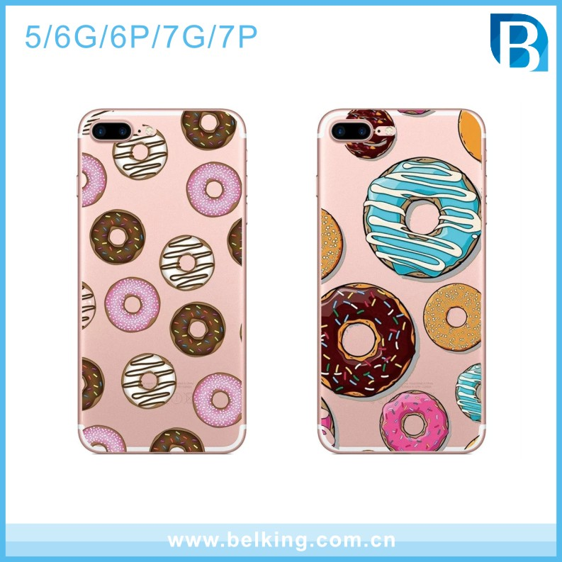 Donuts Soft TPU Silicone Bumper Back Cover Slim Fit Clear Protective Cases for Apple iPhone5/6/6plus/7/7plus