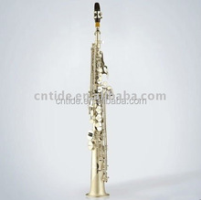 High grade straight soprano saxophone, with neck, nickel silver plated