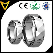 Free Samples Free Laser Engraving His & Her's 8MM6MM Polished Facet Cut Shiny Tungsten Carbide Wedding Band Ring Set Wholesale