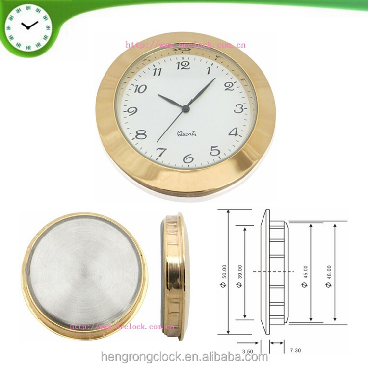 diameter 50mm insert clock with PC21 movement metal watch insert