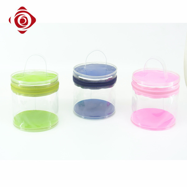 Waterproof clear pvc cylinder makeup bag promotional