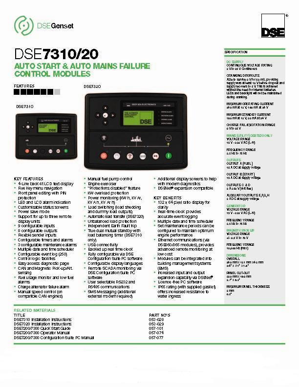 deep sea controller dse7320 dse generator control module
