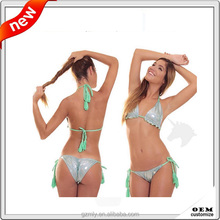 custom sexy hot young girl scrunch bikini shiny bikini swimwear