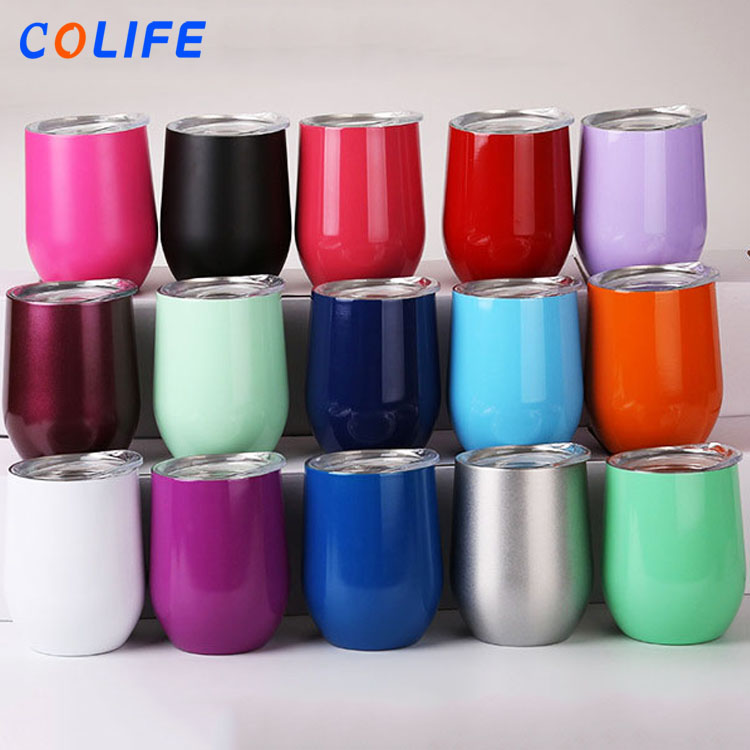 Egg Shaped Double Wall Vacuum Insulated Stainless Steel Wine Glass Tumbler Cup with Lid