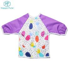 Cute Waterproof PUL Roll up Pocket Baby Bibs Smock with Long Sleeves