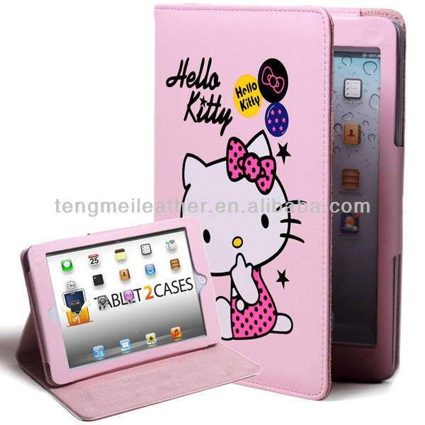 Hello kitty PU leather book case hello kitty case for new ipad,cute case for ipad 2 3 4