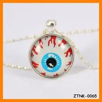 2015 Fashion DIY Glass Stone Blood Eyes Long Chain Pendant Necklace