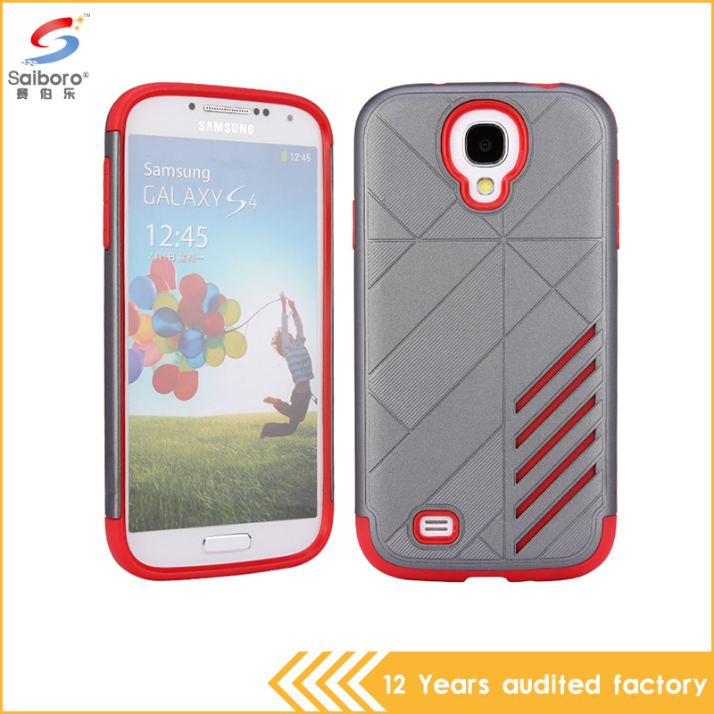Hot selling Slim hybrid armor Gray and Red color shockproof cell phone cover for samsung galaxy s4 case