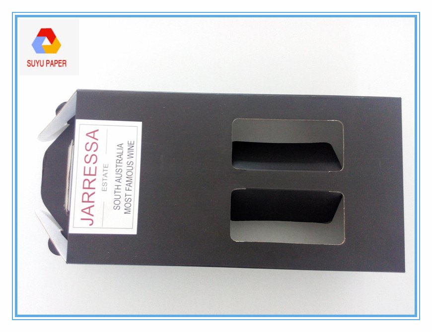 Black color wine packaging box, red wine paper packaging box