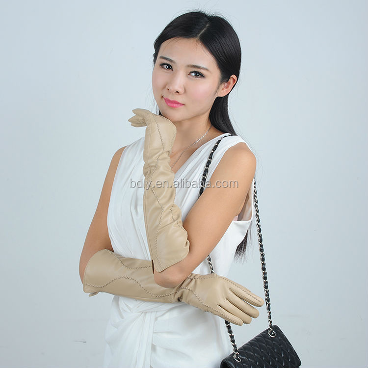 skin color fashion long sleeve glove for women
