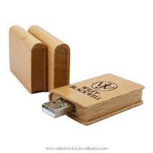 Bulk cheap customized laser engraving logo natural wood material wooden book shaped 1gb usb flash drives
