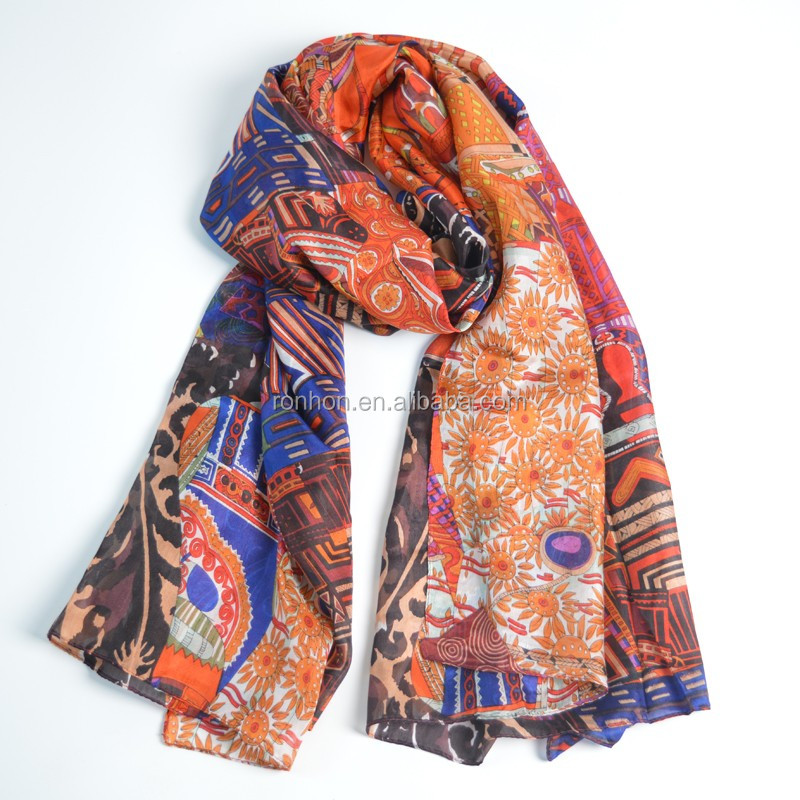 ODM/OEM fashionable polyester brightly painted lady fashion voile scarf