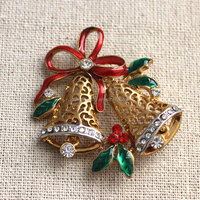 Hot sell jewelry christmas bell alloy pin brooch