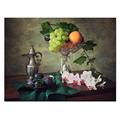 Assorted Fruit Plate Picture Canvas Print/Fruit and Orchid Giclee Artwork/Wholesale Framed Euro Style Canvas Painting