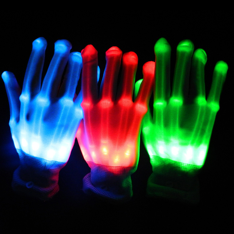 LED Color Changing Lighting Gloves Flashing Skeleton Hallowamas Stage Props Flash Gloves For Holiday Party Events Shows