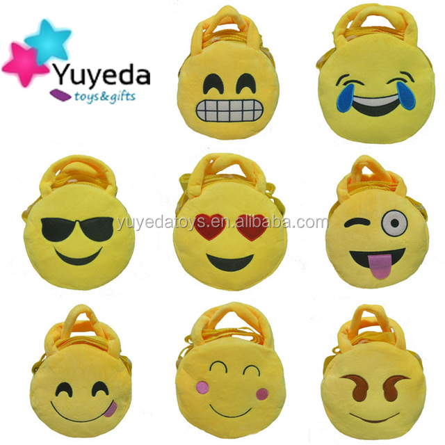 High quality plush emoji backpack/kids plush emoji backpacks/plush emoji bag for sale