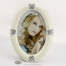 Oval Shape Ivory Vintage Metal Picture Frame Craft Decorate Photo Frame