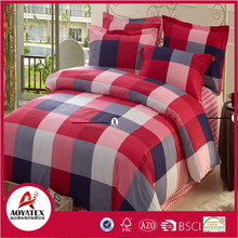 A-B side red and dark blue grid bedding set,75gsm 100% polyester king size bedsheet set,Reasonable price with high quality