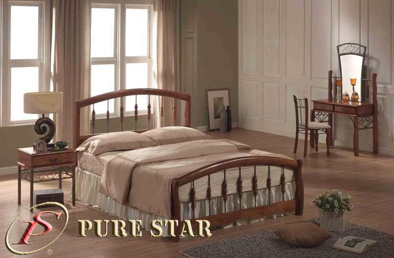 Solid Wood and Steel Bed