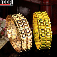Digital Lava Style Gold Steel Bangle iron samurai inspired led watch instructions