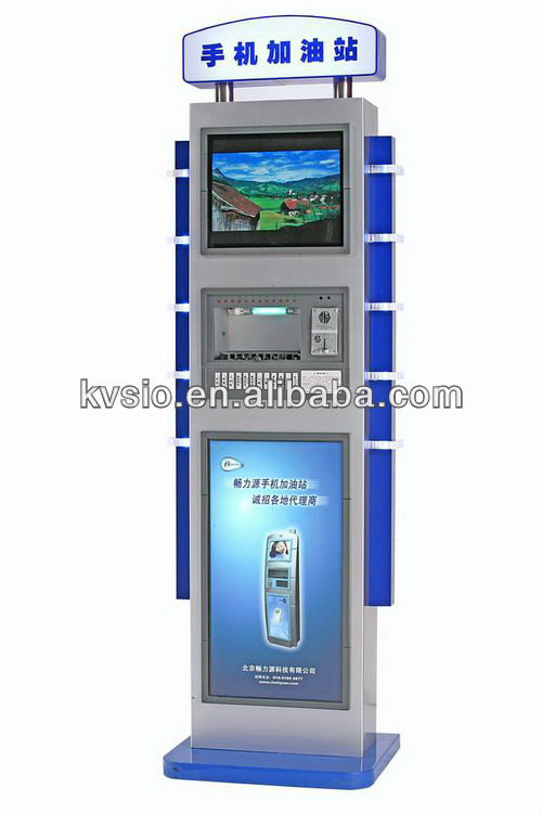 Airport ,Station or Shopping Mall Internet Connected Remote Control 17''LCD Video Advertising Cell Phone Charging Kiosks