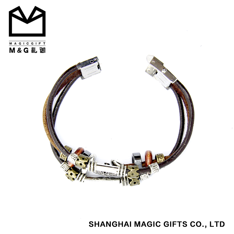 magnetic clasp leather wrap bracelet factory price