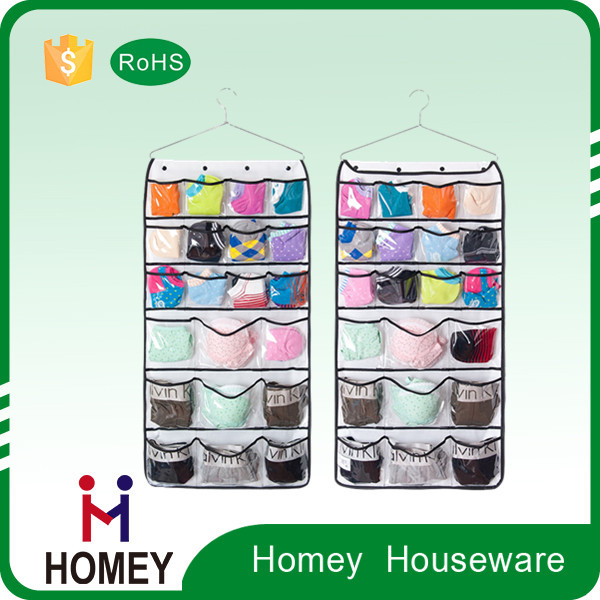 2015 competitive price hot sell clear foldable socks hanging bag organizer
