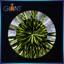 Top quality competitive price artificial gemstone apple green round shape cubic zirconia millenium cut gems