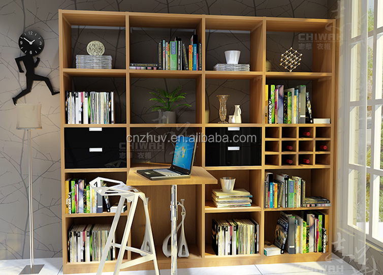 Wooden Glass Door Bookcase With Study Table Buy Glass