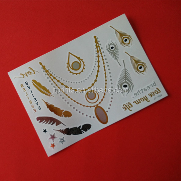 Custom metallic foil Temporary tattoo Body jewelry gold and silver tattoo Non-Toxic Fashion Flash tattoos