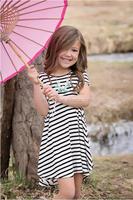 New Style Children Formal Dresses Girls Long Style Dresses Kids Short Sleeve Stripe Dresses For Girls
