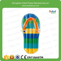 Anbel High Quality Funny swimming pool floating toy Giant inflatable Striped Flip Flop Floating Mattress With Cup Holder,71""