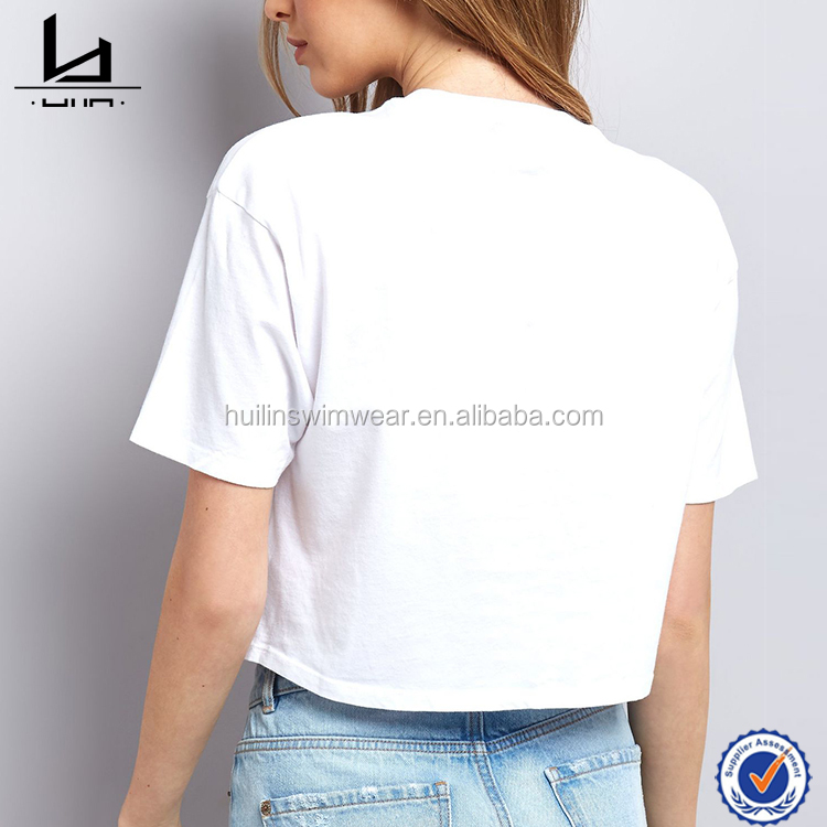 custom design high quality women white cropped embroidered t shirt