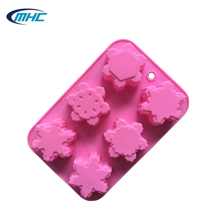 snowflake shaped hand made silicone cake mold soap mold