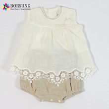 Old European Frocks Designs Lace Baby Clothes 100% Linen/Cotton Blend Little Girls Boutique Clothing Outfits