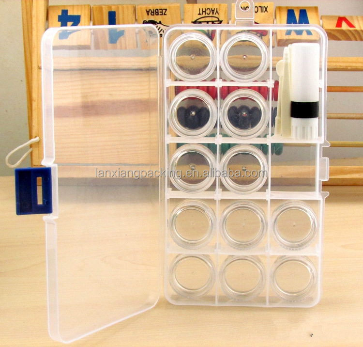 12 Pcs/set Coin Display Case Round Clear Plastic Jewelry Beads cosmetic Contact Lenses Storage Box Case Nail tool Small Bottles