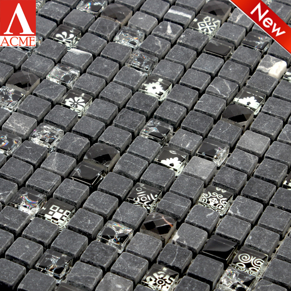 black mixed stone glass marble mosaic tile in shop design