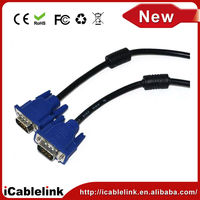 High quality VGA cable male to male with dual ferrite cores,Gold Plated VGA Monitor Cable with pvc jacket for pc tv 5M