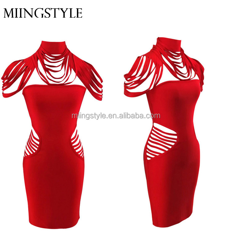Dresses Original Top Quality Wine Red Weaving Hollow Out Long Rayon Trumpet Bandage Dress Cocktail Party Dress A Complete Range Of Specifications
