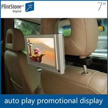 Flintstone 7 inch car screen monitor wall mount lcd 9 taxi video advertising player