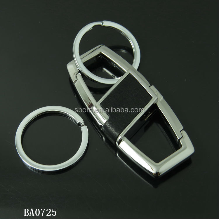 multifunction useful metal leather key chain with double key rings keychains