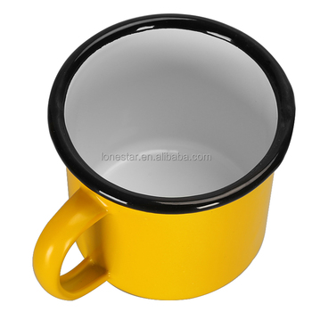 Private custom yellow enamelware mugs with curved rim