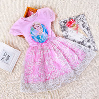 Fashion frozen design wholesale children puff sleeve clothes nice fashion flower girl dress net dresses