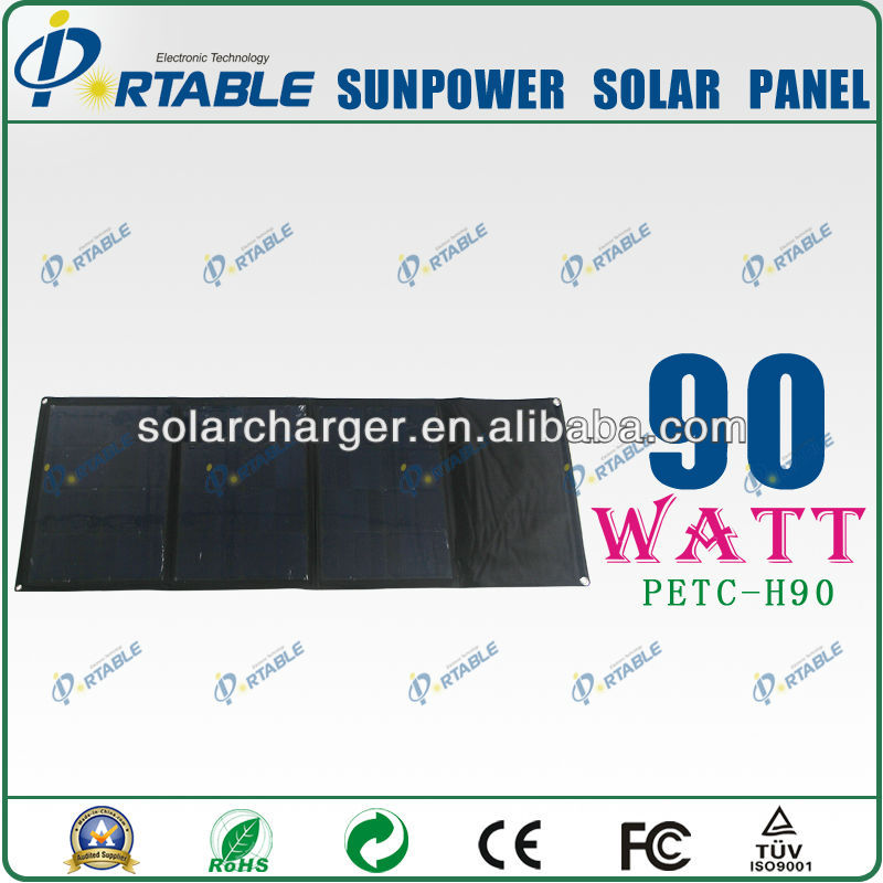 90W Sunpower folding Solar Panel laptop/phone charger for digital batteries (PETC-H90)