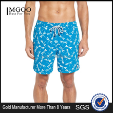 New Arrival Dragonfly Print Summer Swim Trunks Custom Logo 100 Polyester Surf Beach Shorts Waterproof Men Blue Swim Short