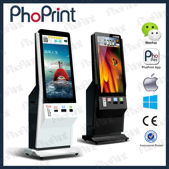 42inch photo kiosk with hashtag printer with logo branding advertising on photo frame