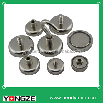 Permanet Neodymium Pot magnets with hook.