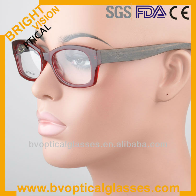 Bright Vision B6061 Acetate frames wood temple italian design acetate eyeglasses