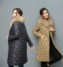 Lady Winter New Style Thin and Light Knee Length Long Collar Single-breasted Down Feather Coat Ladies Overcoat